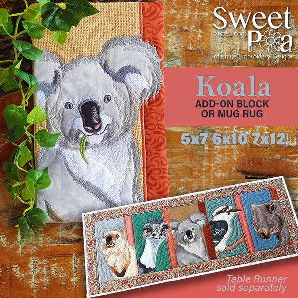 Koala Add-on Block or Mug Rug 5x7 6x10 and 7x12 - Sweet Pea In The Hoop Machine Embroidery Design