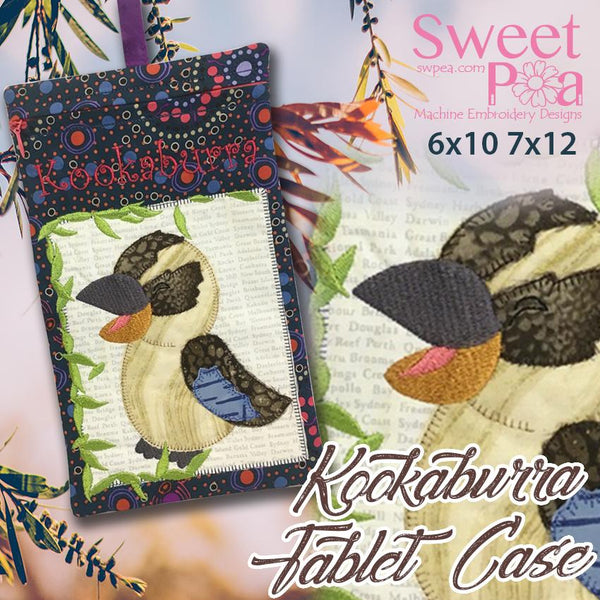 Kookaburra Tablet Case or Zipper Bag 6x10 and 7x12 - Sweet Pea In The Hoop Machine Embroidery Design