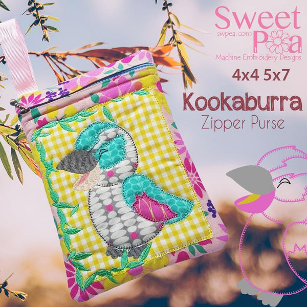 Kookaburra Purse 4x4 and 5x7 - Sweet Pea In The Hoop Machine Embroidery Design