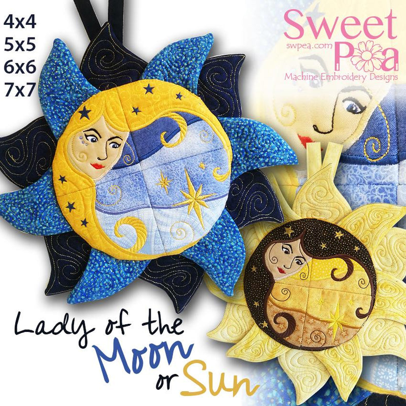 Lady of the Moon or Sun Wall Hanging 4x4 5x5 6x6 7x7 - Sweet Pea In The Hoop Machine Embroidery Design