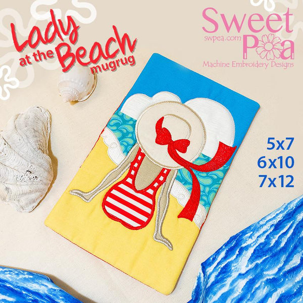 Lady At The Beach Mugrug 5x7 6x10 and 7x12 - Sweet Pea In The Hoop Machine Embroidery Design