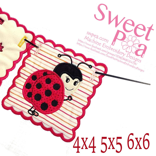 Lady Bug Bunting Add On 4x4 5x5 6x6 - Sweet Pea In The Hoop Machine Embroidery Design