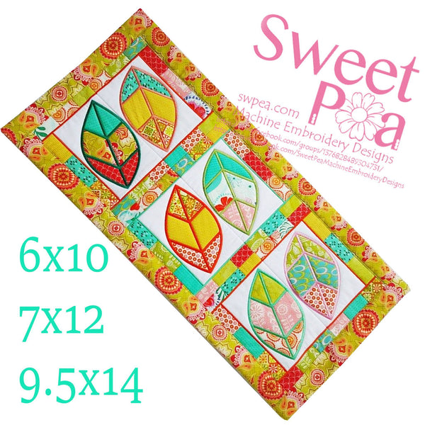 Leaf Quilt Block and Table Runner 6x10 7x12 9.5x14 - Sweet Pea In The Hoop Machine Embroidery Design