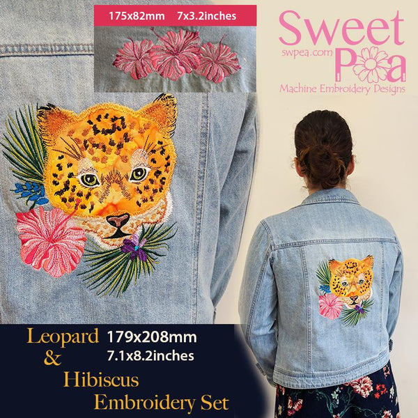 Leopard and Hibiscus Embroidery Set - Sweet Pea In The Hoop Machine Embroidery Design