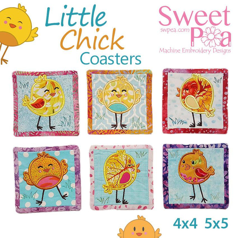 Little Chick Coasters 4x4 5x5 - Sweet Pea In The Hoop Machine Embroidery Design