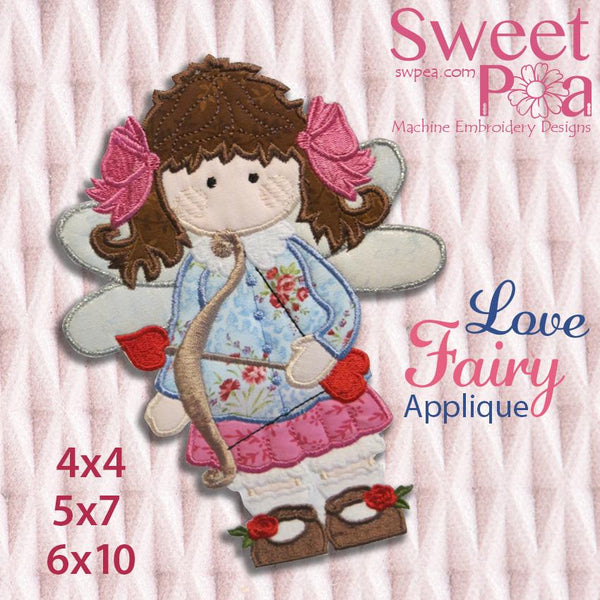 Love Fairy Machine Embroidery Applique Design 4x4, 5x7 and 6x10 - Sweet Pea In The Hoop Machine Embroidery Design