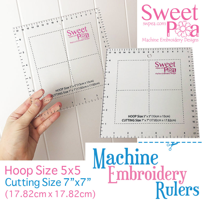 Machine Embroidery Ruler for 5x5 hoop