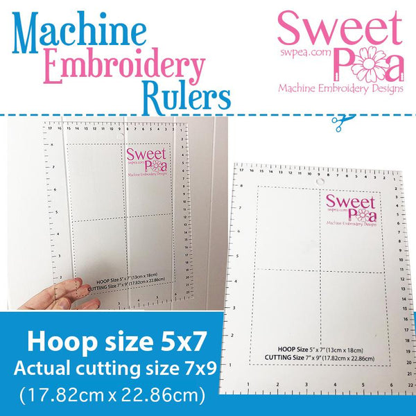 Machine Embroidery Ruler for 5x7 hoop - Australia - Sweet Pea In The Hoop Machine Embroidery Design