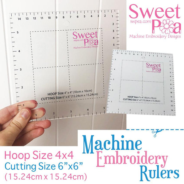 Machine Embroidery Ruler for 4x4 hoop - Australia - Sweet Pea In The Hoop Machine Embroidery Design