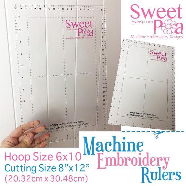 Machine Embroidery Ruler for 6x10 hoop - Australia - Sweet Pea In The Hoop Machine Embroidery Design
