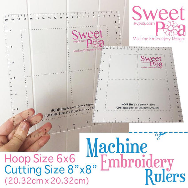 Machine Embroidery Ruler for 6x6 hoop - Australia - Sweet Pea In The Hoop Machine Embroidery Design