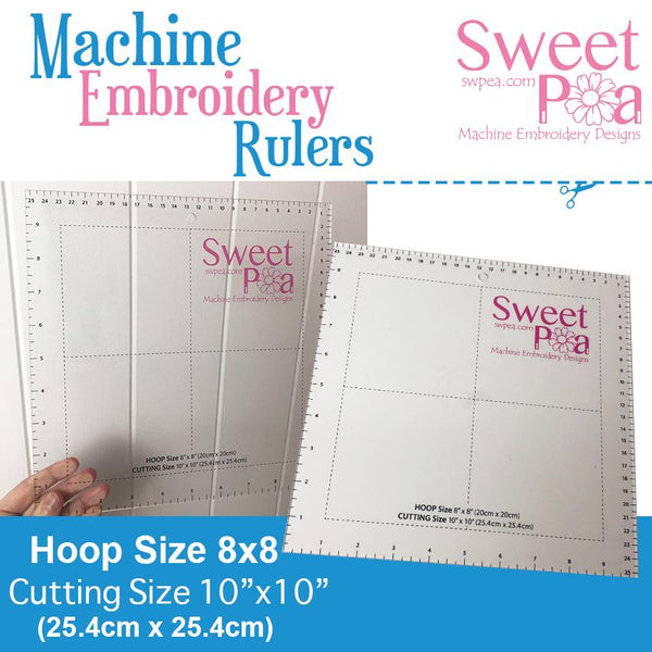 Machine Embroidery Ruler for 8x8 hoop - Australia - Sweet Pea In The Hoop Machine Embroidery Design