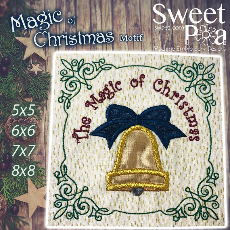 Magic of Christmas Motif 5x5 6x6 7x7 and 8x8 - Sweet Pea In The Hoop Machine Embroidery Design