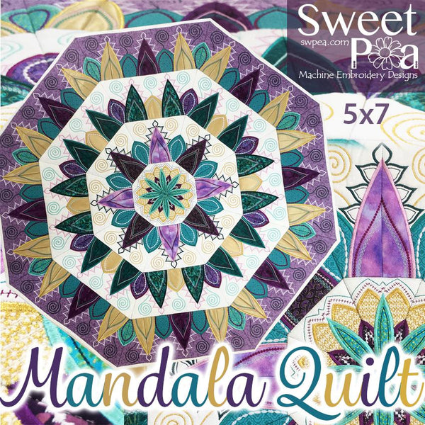 Mandala Quilt 5x7 - Sweet Pea In The Hoop Machine Embroidery Design