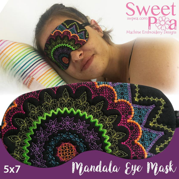 Mandala Eye Mask 5x7 - Sweet Pea In The Hoop Machine Embroidery Design