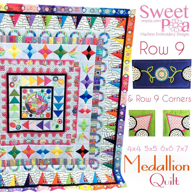 Medallion BOM Sew Along Quilt Block  9 and Corner Block 9 - Sweet Pea In The Hoop Machine Embroidery Design