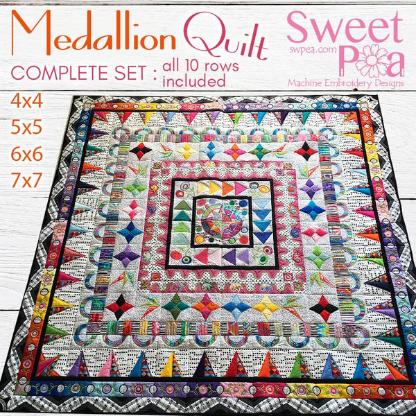 Bulk BOM Medallion Quilt Rows 1-10 Pack - Sweet Pea In The Hoop Machine Embroidery Design