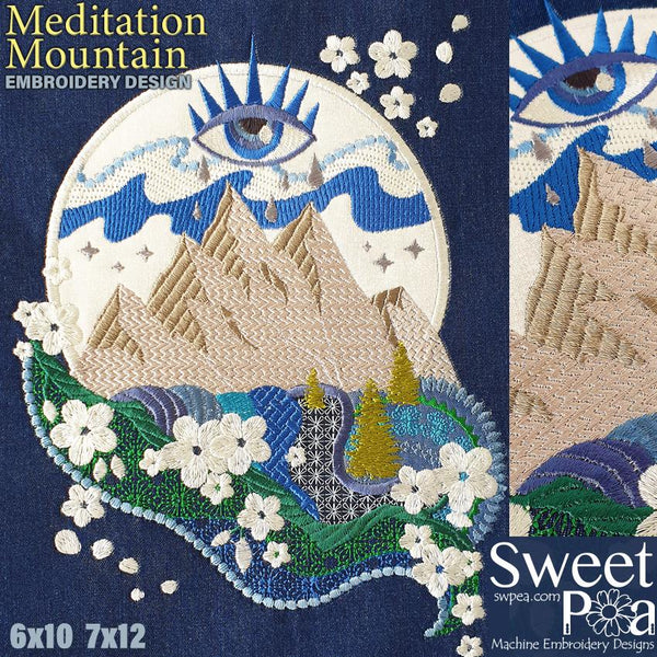 Meditation Mountain 6x10 7x12 - Sweet Pea In The Hoop Machine Embroidery Design