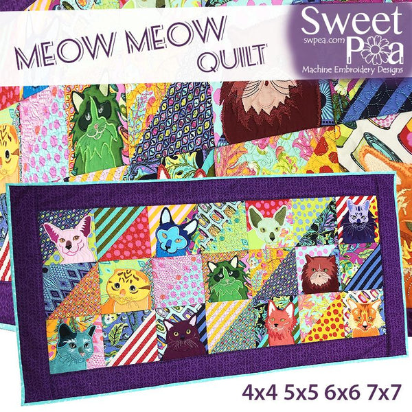 Meow Meow Quilt 4x4 5x5 6x6 7x7 - Sweet Pea In The Hoop Machine Embroidery Design