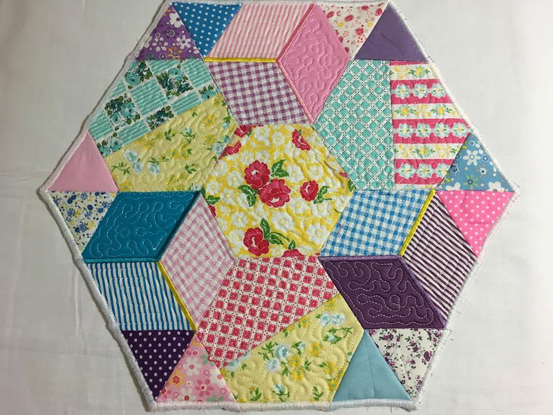 Hexagon Quilt 4x4 5x5 and 6x6 - Sweet Pea In The Hoop Machine Embroidery Design