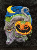 Cat and Jack-O'-Lantern applique design 5x7 6x10 7x12 and 9.5x14