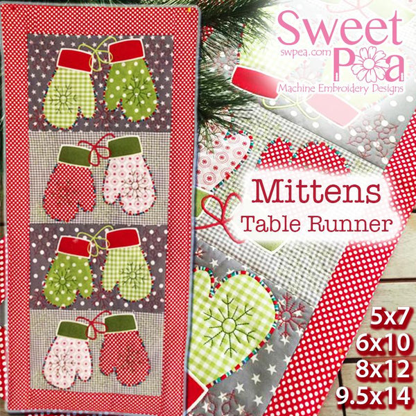 Mittens Quilt Block and Table Runner 5x7 6x10 8x12 9.5x14 - Sweet Pea In The Hoop Machine Embroidery Design