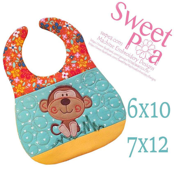 Monkey Bib 6x10 and 7x12 - Sweet Pea In The Hoop Machine Embroidery Design