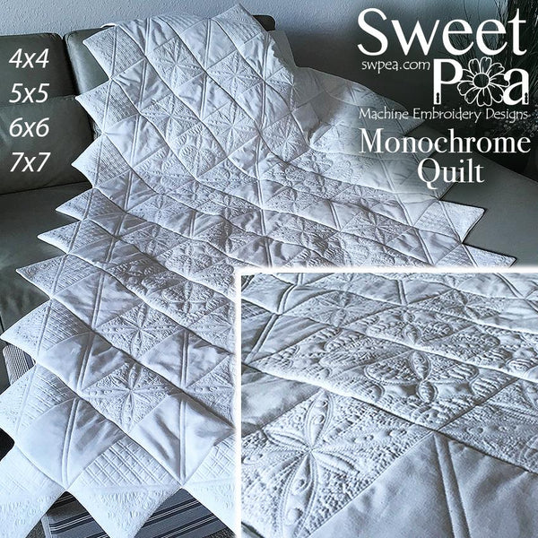 Monochrome Quilt 4x4 5x5 6x6 7x7 - Sweet Pea In The Hoop Machine Embroidery Design
