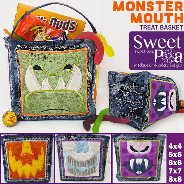 Monster Mouth Treat Basket 4x4 5x5 6x6 7x7 and 8x8 - Sweet Pea In The Hoop Machine Embroidery Design