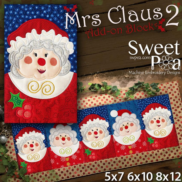 Mrs Claus 2 Add-on Block 5x7 6x10 8x12 - Sweet Pea In The Hoop Machine Embroidery Design