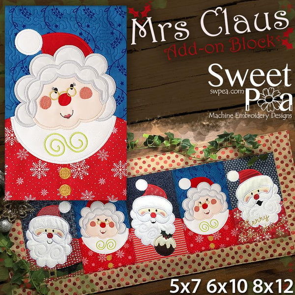 Mrs Claus Add-on Block 5x7 6x10 8x12 - Sweet Pea In The Hoop Machine Embroidery Design