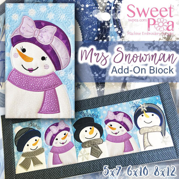Mrs Snowman Add-on Block 5x7 6x10 8x12 - Sweet Pea In The Hoop Machine Embroidery Design