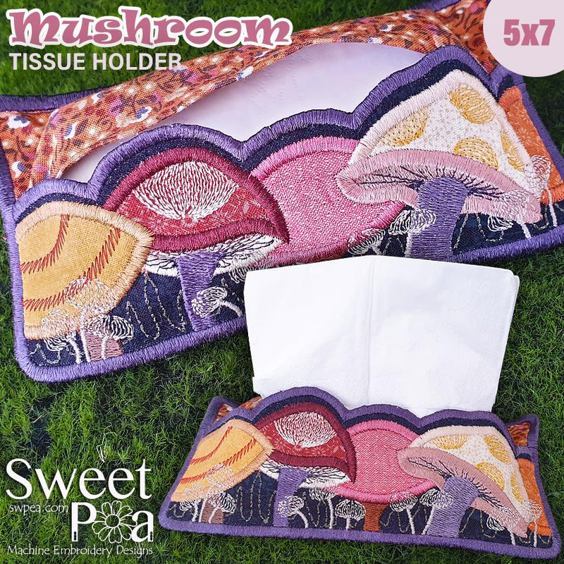Mushroom Tissue Holder 5x7 - Sweet Pea In The Hoop Machine Embroidery Design