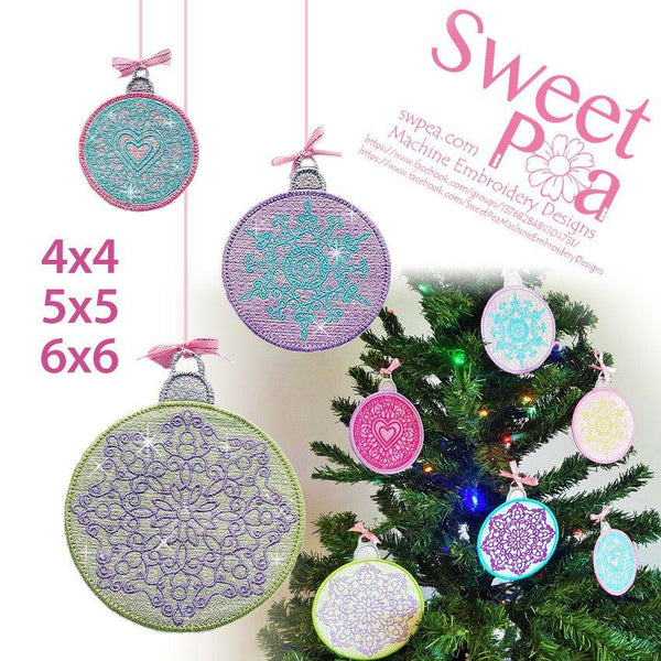 Mylar Christmas Baubles 4x4 5x5 6x6 - Sweet Pea In The Hoop Machine Embroidery Design