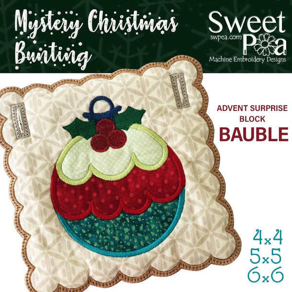 Mystery Christmas Bunting Day 20 Block - Sweet Pea In The Hoop Machine Embroidery Design