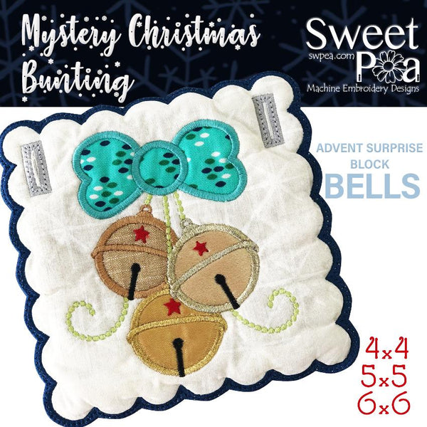Mystery Christmas Bunting Day 8 Block - Sweet Pea In The Hoop Machine Embroidery Design