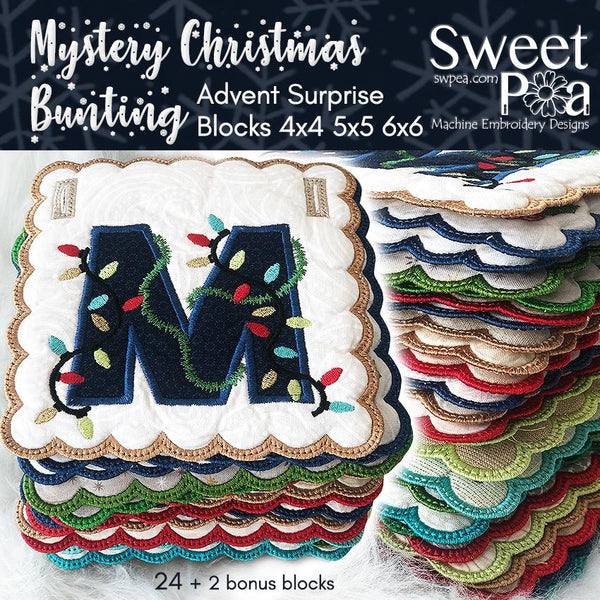 Bulk Mystery Christmas Bunting Full Set - Sweet Pea In The Hoop Machine Embroidery Design