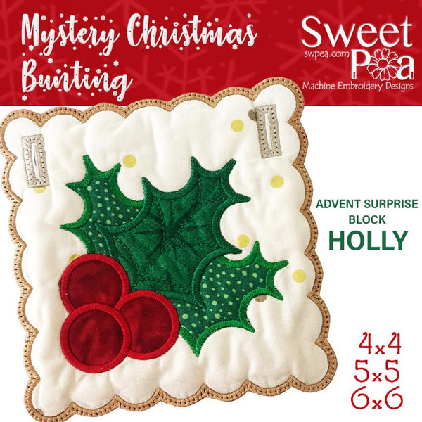 Mystery Christmas Bunting Day 10 Block - Sweet Pea In The Hoop Machine Embroidery Design