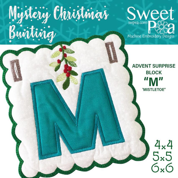 Mystery Christmas Bunting Day 17 Block - Sweet Pea In The Hoop Machine Embroidery Design