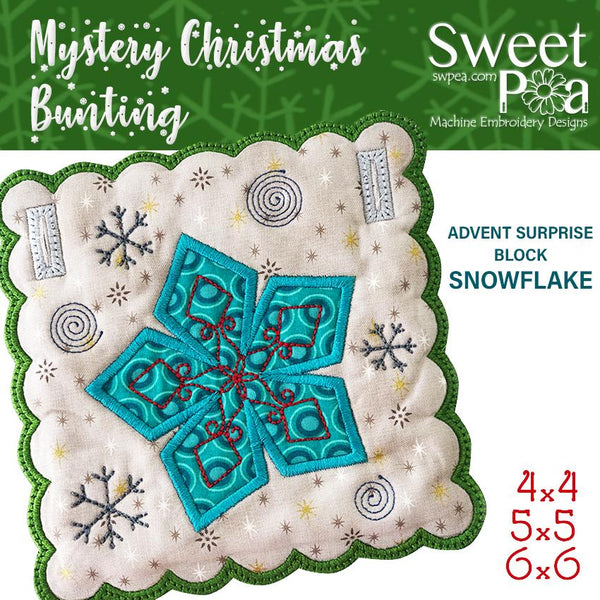 Mystery Christmas Bunting Day 6 Block - Sweet Pea In The Hoop Machine Embroidery Design