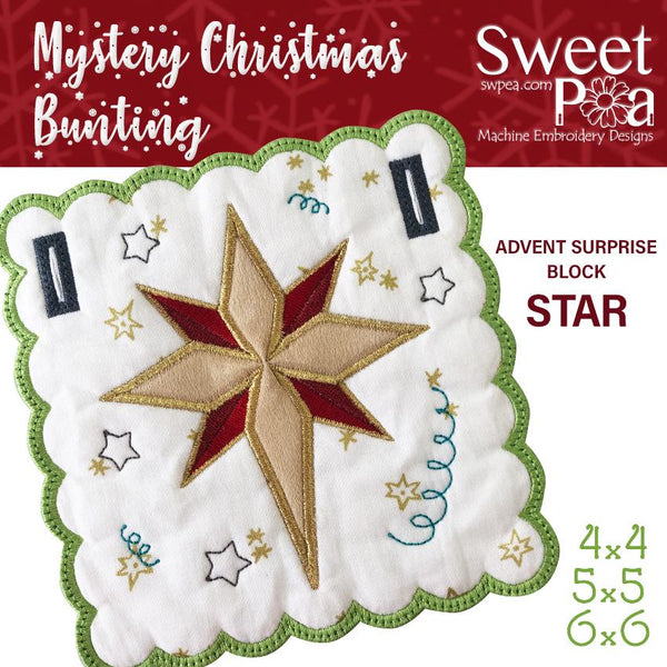 Mystery Christmas Bunting Day 14 Block - Sweet Pea In The Hoop Machine Embroidery Design