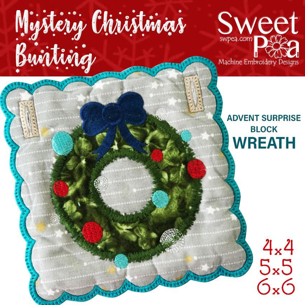 Mystery Christmas Bunting Day 22 Block - Sweet Pea In The Hoop Machine Embroidery Design