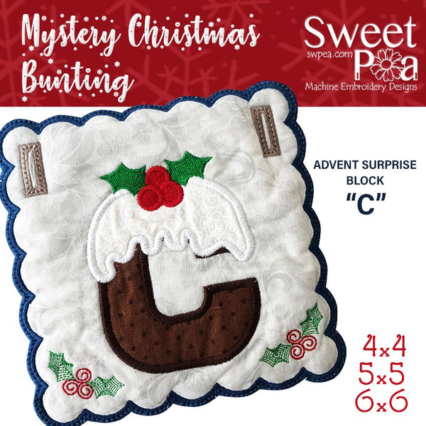 Mystery Christmas Bunting Day 7 Block - Sweet Pea In The Hoop Machine Embroidery Design