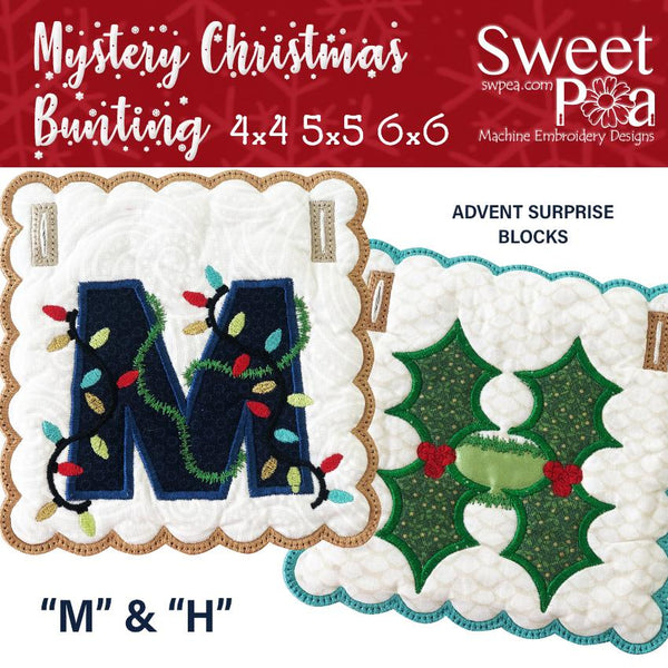 Mystery Christmas Bunting Day 1 Blocks - Sweet Pea In The Hoop Machine Embroidery Design