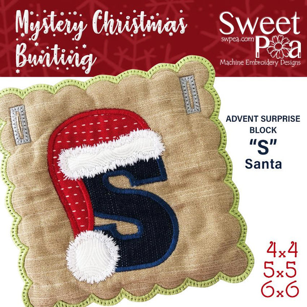 Mystery Christmas Bunting Day 13 Block - Sweet Pea In The Hoop Machine Embroidery Design