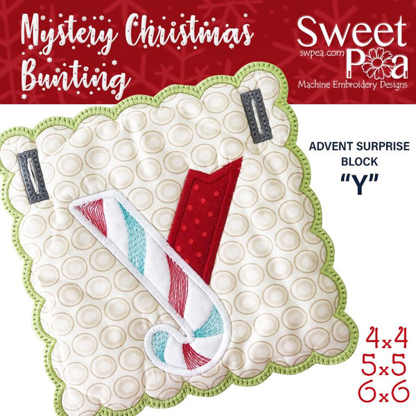 Mystery Christmas Bunting Day 5 Block - Sweet Pea In The Hoop Machine Embroidery Design