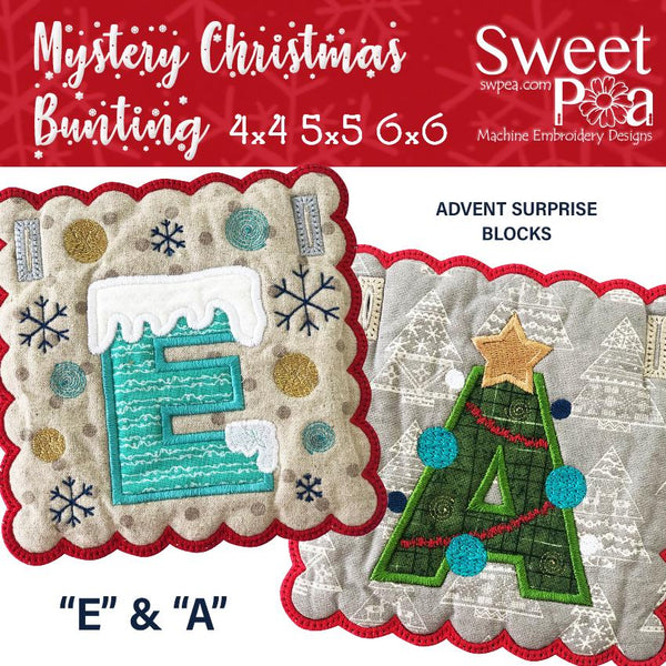 Mystery Christmas Bunting Day 2 Blocks - Sweet Pea In The Hoop Machine Embroidery Design