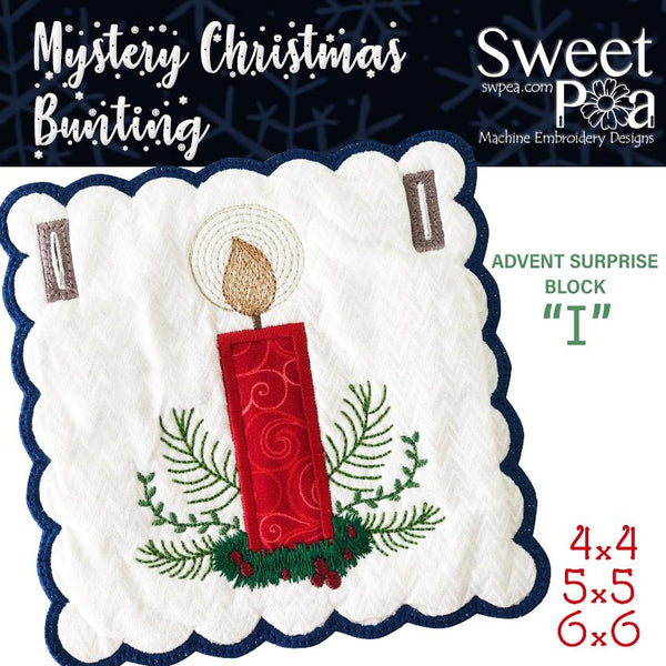 Mystery Christmas Bunting Day 11 Block - Sweet Pea In The Hoop Machine Embroidery Design