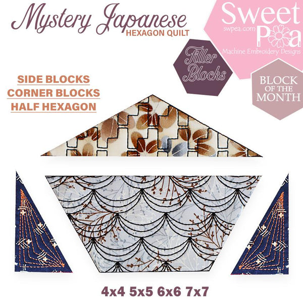 Mystery Japanese Hexagon Quilt BOM Corner, Side and Half Blocks - Sweet Pea In The Hoop Machine Embroidery Design