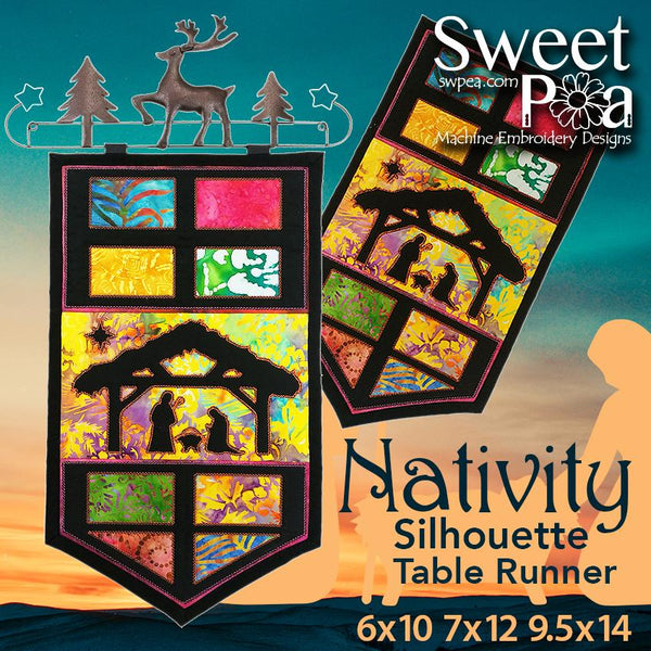 Nativity Silhouette Table Runner or Wall Hanging 6x10 7x12 9.5x14 - Sweet Pea In The Hoop Machine Embroidery Design